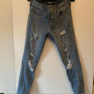 Express- Vintage High Rise Distressed Jeans- 4R
